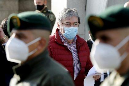 En la imagen un registro del ministro de Defensa de Colombia, Carlos Holmes Trujillo (c), en Bogotá (Colombia). EFE/Mauricio Dueñas/Archivo