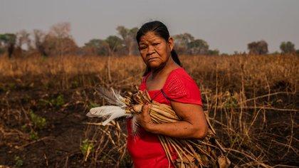 Sandra Guató Silva recolecta plumas cerca a su casa en Baía dos Guató