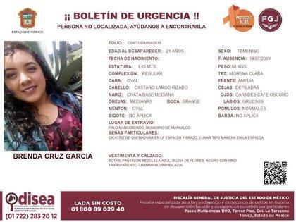 La ficha de búsqueda de Brenda Cruz García (Foto: @Fam_Unidas_AC)
