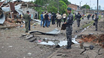 Explosión de un carro bomba el 27 de enero del 2018 en San Lorenzo, Ecuador. (Foto Gobernación de Esmeraldas)