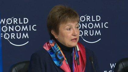 La directora gerente del FMI, Kristalina Georgieva, ayer abrió el Foro de Davos; el ministro Martín Guzmán dijo que hay conversaciones con el organismo para postergar los pagos de la deuda