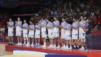 El plantel argentino en el Mundial FIBA China 2019 (EFE)