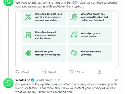 WhatsApp asegura que mantendrá la privacidad de sus usuarios (Foto: WhatsApp)