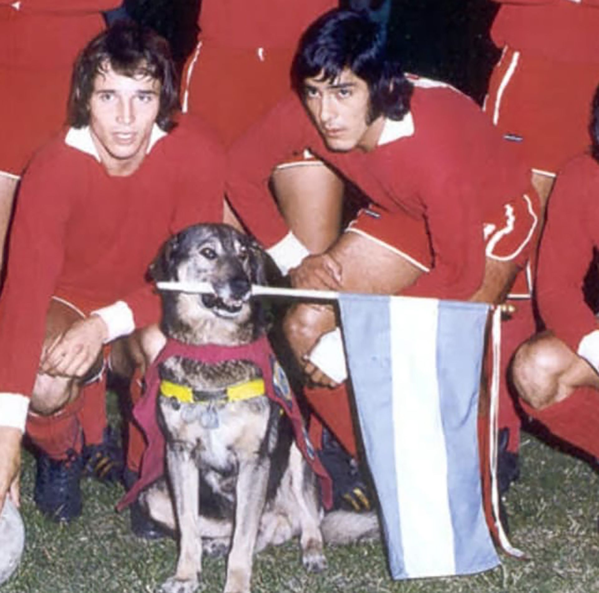 Boneco con el plantel de Independiente