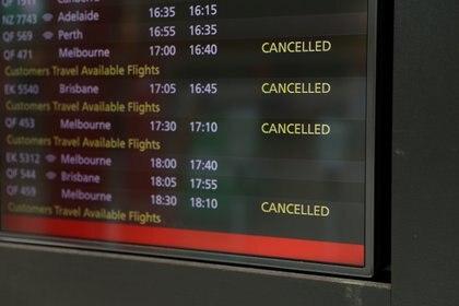 Vuelos cancelados en el aeropuerto internacional de Sydney (REUTERS/Loren Elliott)