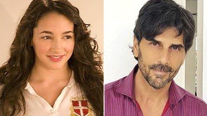 """Thelma Fardín en """"Patito feo"""". A la derecha, Darthés, que hacía el personaje de """"Leandro"""""""