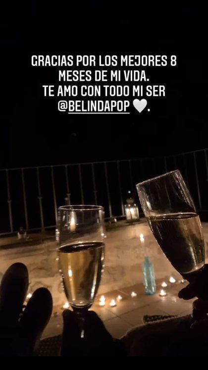 Christian Nodal y Belinda celebran 8 meses de novios en Creta, en medio de vino y veladoras. A través de una transmisión en vivo se juran amor (Foto: Instagram/@nodal)