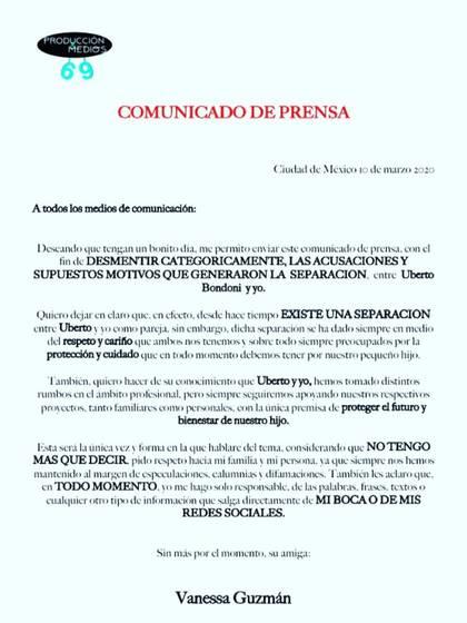 Vanessa Guzman Confirmo Su Separacion De Uberto Bondoni Hemos