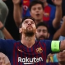 Soccer Football - Champions League - Group Stage - Group B - FC Barcelona v PSV Eindhoven - Camp Nou, Barcelona, Spain - September 18, 2018 Barcelona's Lionel Messi celebrates scoring their first goal REUTERS/Albert Gea