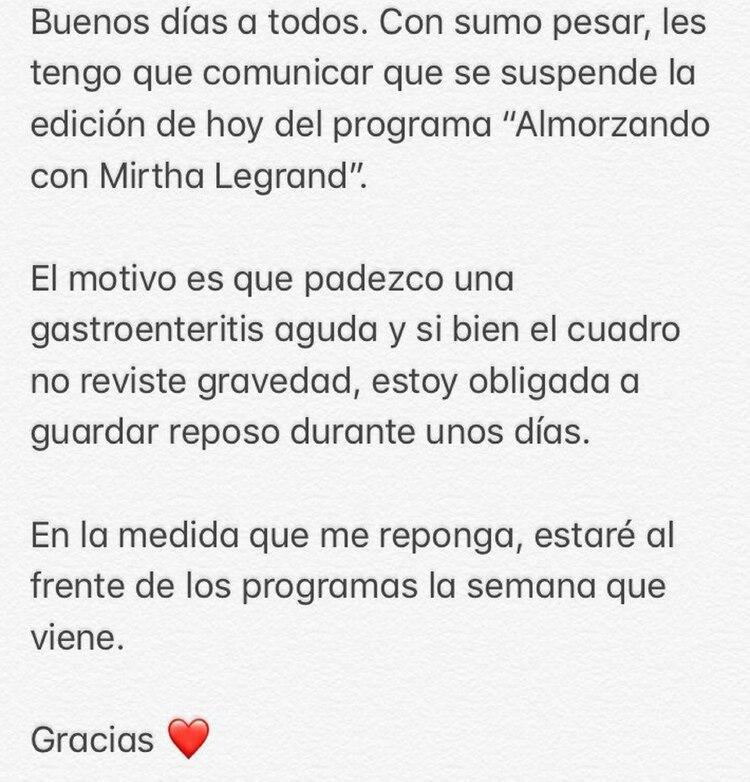 El mensaje de Mirtha Legrand (Foto: Twitter)
