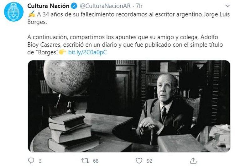 El sobrio mensaje del Ministerio de Cultura en el aniversario de la muerte de Borges