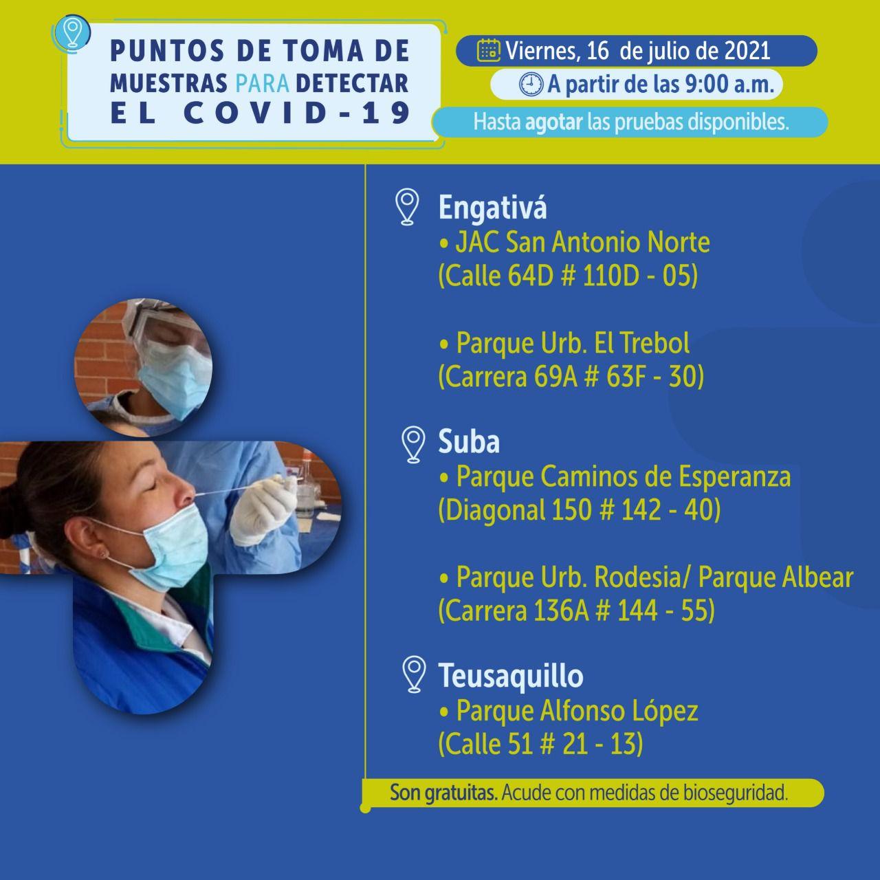 Puntos de pruebas covid-19 en Bogotá para el 16 de julio Foto: Secretaría Distrital de Salud de Bogotá