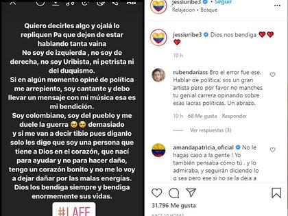 Post en Instagram de Jessi Uribe. Foto: @jessiuribe3