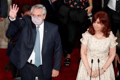 Alberto Fernández, antes de su discurso a la Asamblea Legislativa