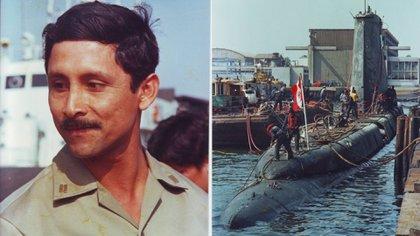 El teniente primero Roger Cotrina Alvarado y el submarino Pacocha.