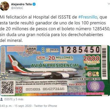 El gobernador Tello dio el anuncio para el hospital del ISSSTE (Foto: Twitter / @ATelloC)