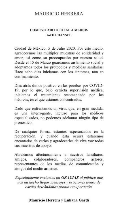 El comunicado que Mauricio Herrera compartió en su cuenta de Twitter @actormauherrera