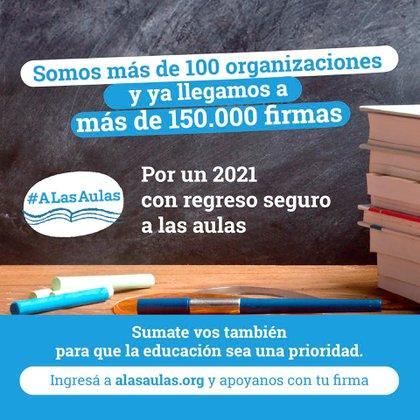 """Bajo el hashtag #ALasAulas, un gran número de organizaciones de la sociedad civil, instituciones y cámaras del sector educativo se unieron """"por un 2021 con regreso seguro a las aulas"""""""