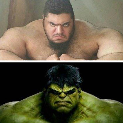 La similitud entre Sajad Gharibi y Hulk, el superhéroe de Marvel
