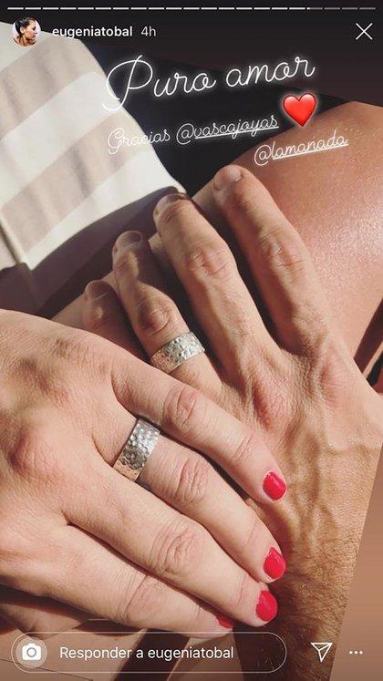 Las manos de Eugenia y Francisco luciendo los anillos (Foto: Instagram)