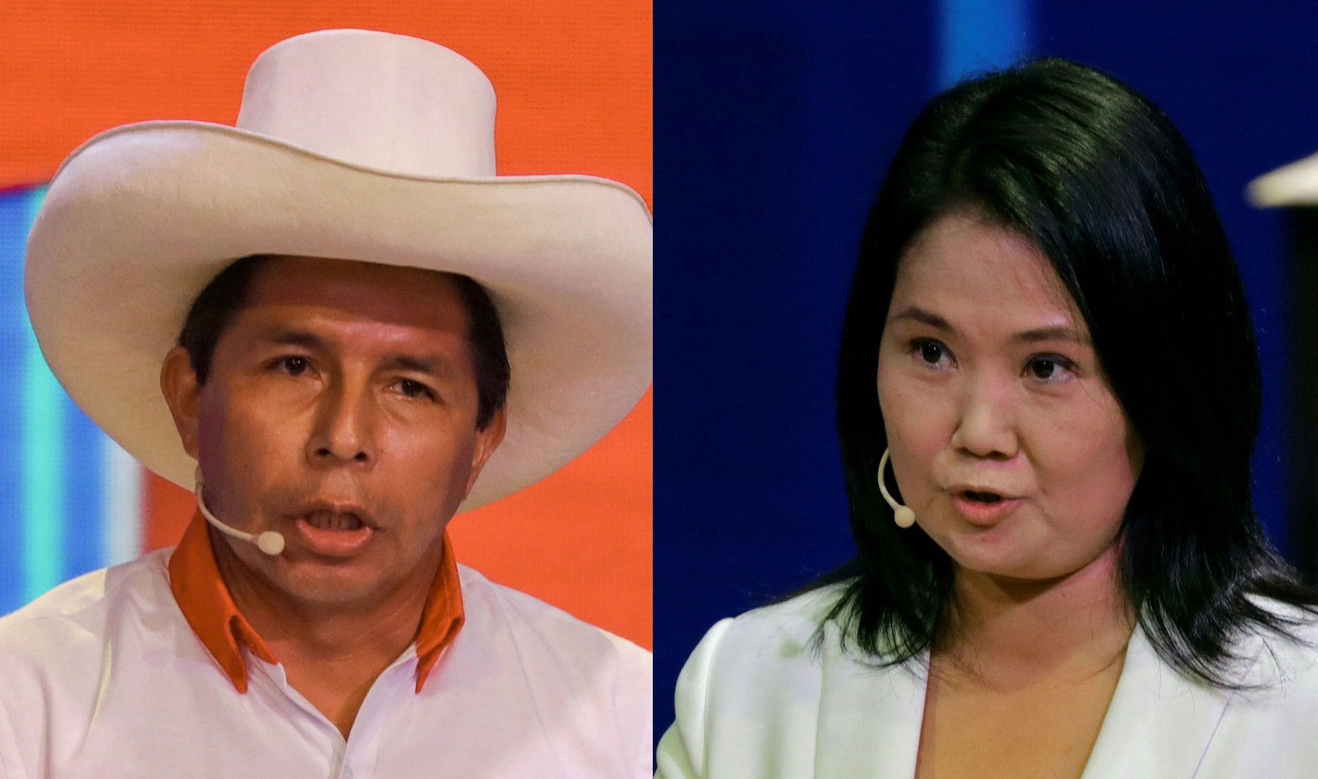 (COMBO) This combination of pictures created on April 13, 2021 shows Peruvian presidential candidate for the Free Peru Party, Pedro Castillo (L), and Peruvian presidential candidate for the Popular Force Party, Keiko Fujimori, speaking during the televised debate organized by the National Electoral Jury in Lima on March 30 and 29, 2021, respectively. - Radical left unionist Pedro Castillo and rightwing populist Keiko Fujimori will vie for the presidency of Peru in a runoff election on June 6, 2021, after the results of April 11 first round showed them pulling ahead of the other 16 candidates. (Photos by Sebastian CASTANEDA / POOL / AFP)