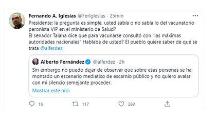 """""""Presidente: la pregunta es simple, ¿usted sabía o no sabía lo del vacunatorio peronista VIP en el Ministerio de Salud? El pueblo quiere saber de qué se trata"""", increpó el diputado nacional de Juntos por el Cambio, Fernando Iglesias."""