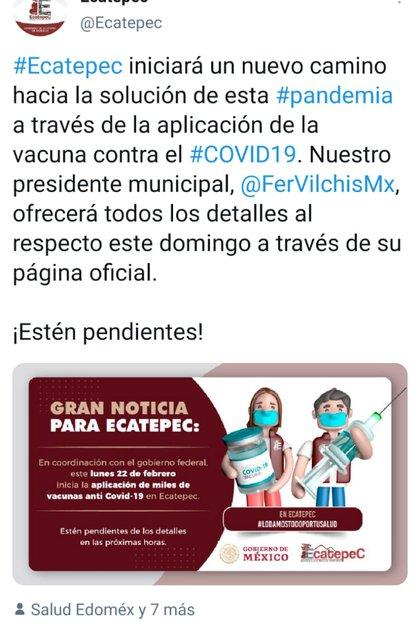 Se había anunciado que la vacunación comenzaría el 22 de febrero (Foto: Twitter@/Ecatepec)