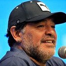 (FILES) In this file photo taken on April 09, 2015 Argentine former football player Diego Maradona offers a press conference in Bogota. - Argentinian football legend Diego Maradona passed away on November 25, 2020. (Photo by Guillermo LEGARIA / AFP)