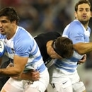 Rugby Union - Rugby Championship - Argentina v New Zealand - Jose Amalfitani Stadium, Buenos Aires, Argentina - September 29, 2018 - Argentina's Pablo Matera in action against New Zealand's Scott Barrett as teammate Nicolas Sanchez and New Zealand's TJ Perenara watch. REUTERS/Marcos Brindicci