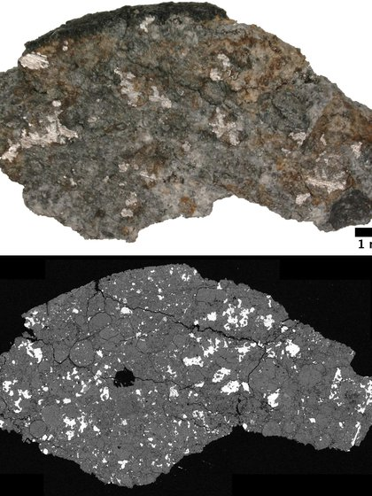 Arriba: el meteorito diseccionado. Abajo:  Imagen de microscopio electrónico retrodispersado. Fuente:  wileyonlinelibrary.com