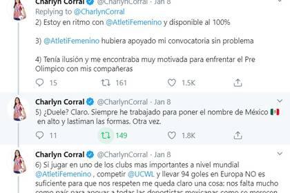 Charlyn dijo que el Atlético Femenil se comprometió a apoyarla en caso de ser convocada para la selección, pero no sucedió (Captura de Pantalla: Twitter @CharlynCorral)
