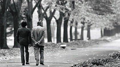 Menem y Alfonsín en la Quinta presidnecial de Olvios