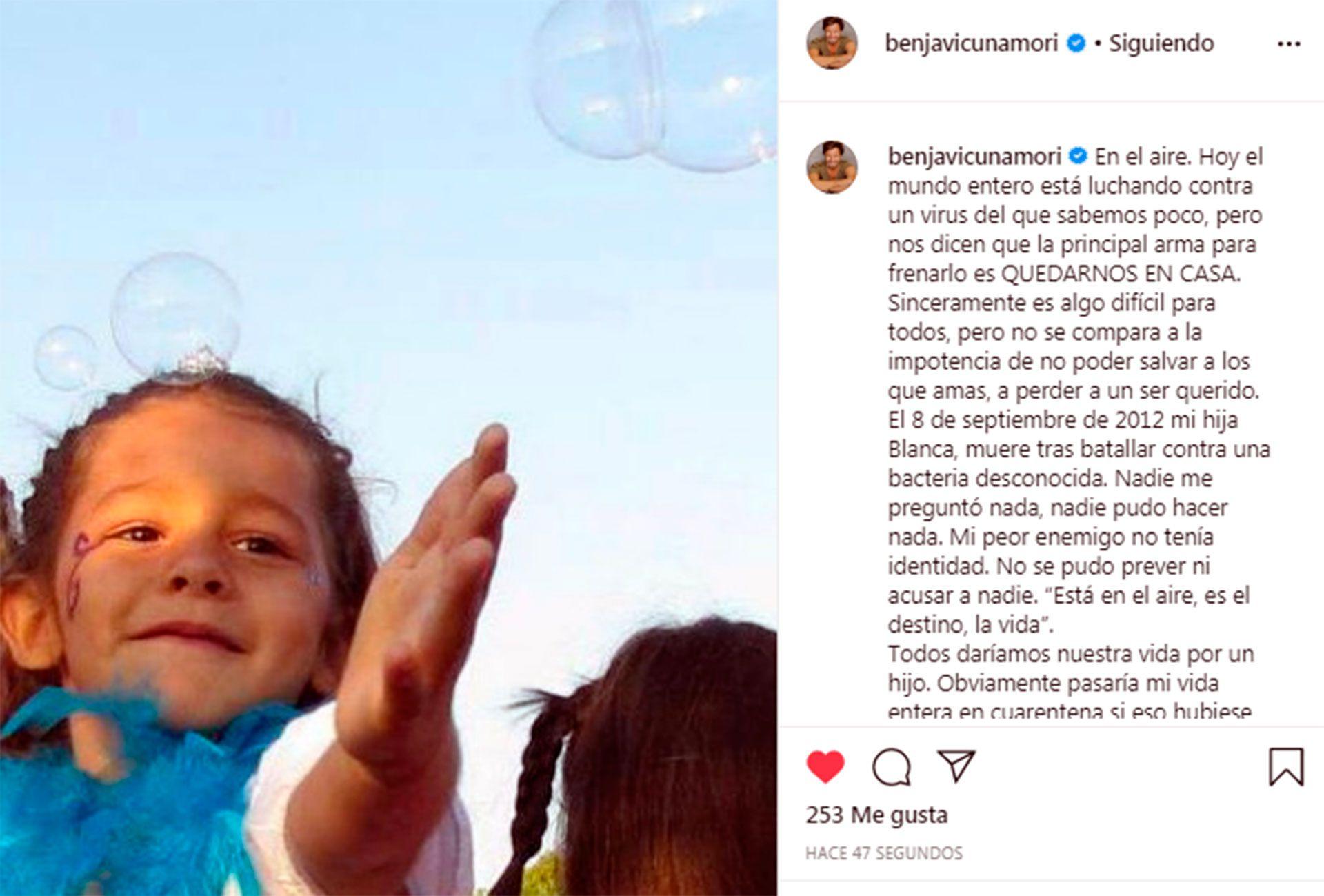 El emotivo posteo de Vicuña en Instagram
