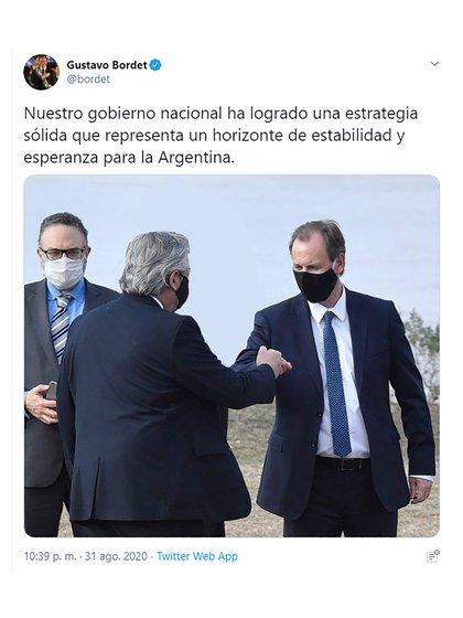 El pasado viernes 28 de agosto, Gustavo Bordet estuvo en un acto junto al presidente Alberto Fernández.