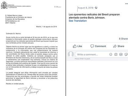 El acuse de recibo de una carta apócrifa atribuida al parlamentario español Rafael Merino López (DFRLab)