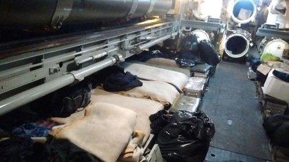 El lugar donde dormía en el ARA San Juan el agente de Inteligencia Enrique Damián Castillo, según la foto que él mismo le envió a su mujer antes de la desaparición del submarino