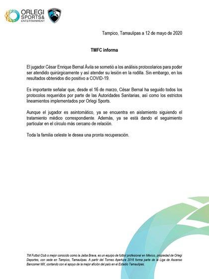 El club señaló que es un caso asintomático y ya se encuentra en aislamiento (Foto: Tampico Madero)