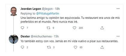 Il messaggio su Twitter dell'imprenditore gourmet Martin Petaluga, che ha suscitato malcontento tra i suoi seguaci e ha chiesto il boicottaggio dei loro ristoranti (Twitter)