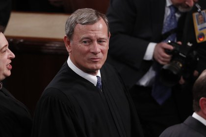 John Roberts, chief justice of the U.S. Supreme Court, arrives ahead of a State of the Union address to a joint session of Congress at the U.S. Capitol in Washington, D.C., U.S., on Tuesday, Feb. 4, 2020. Trumpwill try to move past his impeachment and make a case for his re-election in Tuesday'sStateoftheUnionaddress by taking credit for a strong economy, newly signed trade deals and an immigration crackdown.