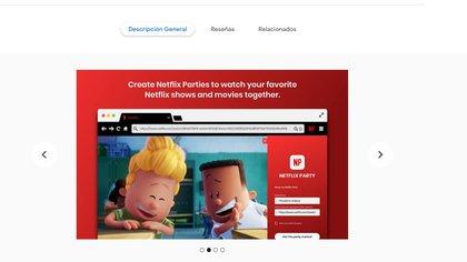 Netflix Party está disponible para descargar en Chrome.