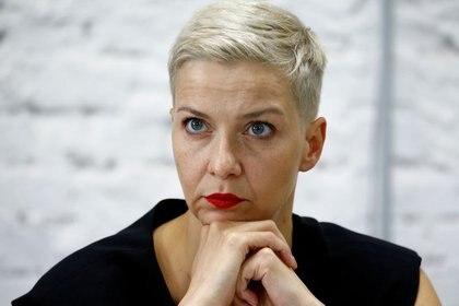 La líder opositora bielorrusa, Maria Kolesnikova, en una conferencia de prensa en Minsk el 24 de agosto de 2020. REUTERS/Vasily Fedosenko