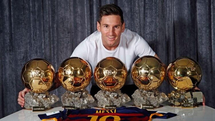 Lionel Messi y sus cinco balones de oro