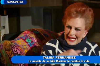 """En octubre del año pasado, Talina Fernández habló al programa """"Hoy"""" sobre la muerte de su hija (Captura YouTube)"""