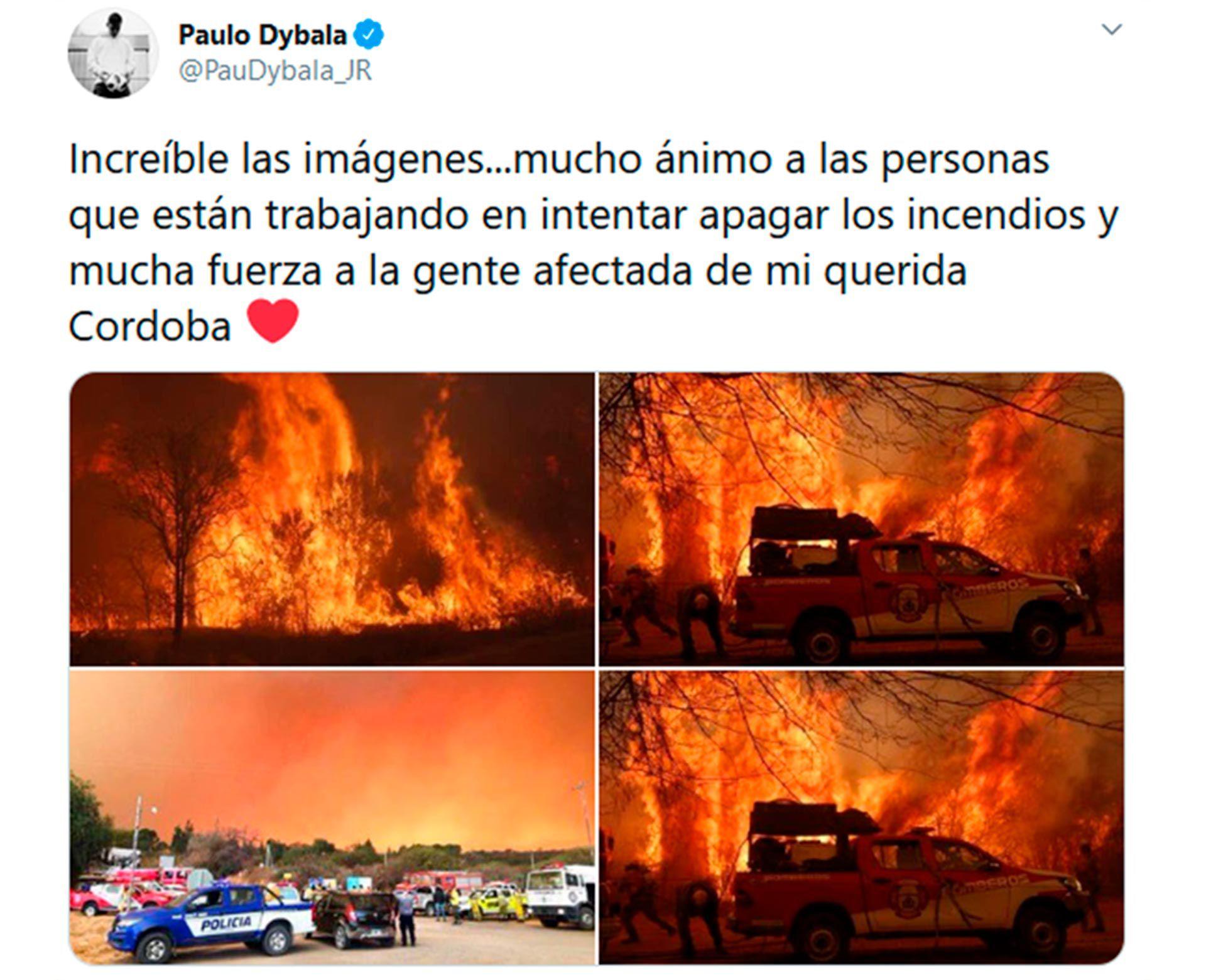 Dybala conmocionado por los incendios en cordoba SF