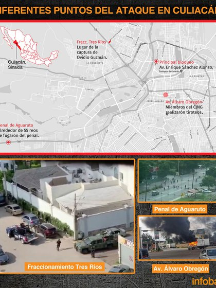 Las diferentes zonas del ataque en Culiacán, Sinaloa (Infografía: Infobae)