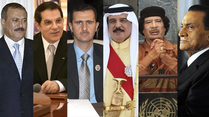 Los dictadores que cayeron o estuvieron en jaque durante la Primavera Árabe: De izq. a der. Alí Abdulá Salé de Yemen, El Abidine Ben Ali de Túnez, Bashar al Assad de Siria, Hamad bin Isa al-Khalifa de Bahrein, Muammar el Gaddafi de Libia y  Hosni Mubarak de Egipto.