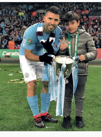 """""""Feliz por haber podido festejarlo con mi hijo Benjamín! (9)"""", escribió en sus redes sociales Sergio Leonel Agüero del Castillo."""