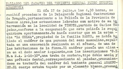 Acta policial del hallazgo del cadáver de Aramburu en la estancia La Celma, en Timote.