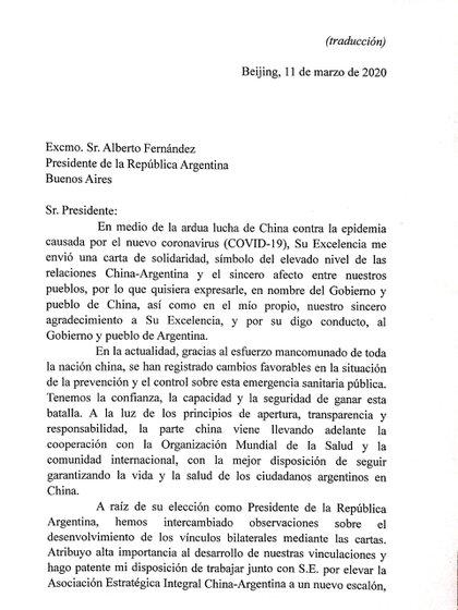 La carta de Xi Jinping a Alberto Fernández