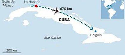 El trayecto que debía hacer el avión (Infografía del diario Granma)